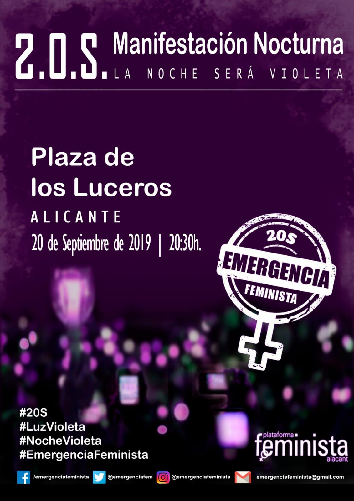 MANIFESTACIÓN LUCES VIOLETAS DE EMERGENCIA FEMINISTA