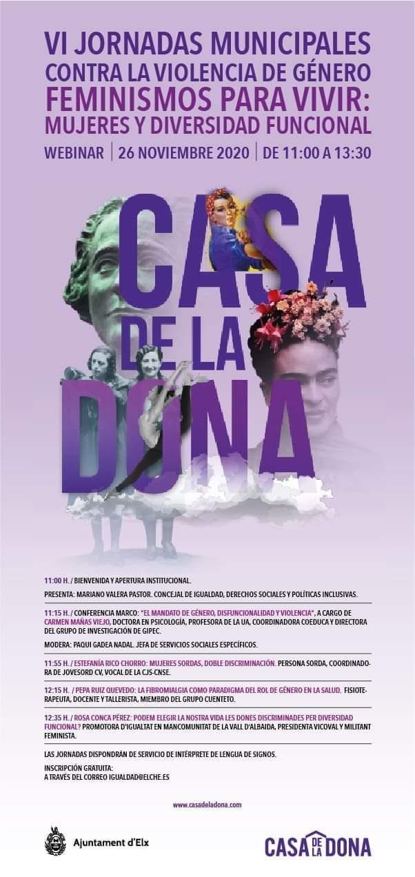 26 noviembre: webinar Feminismo para vivir: mujeres y diversidad funcional