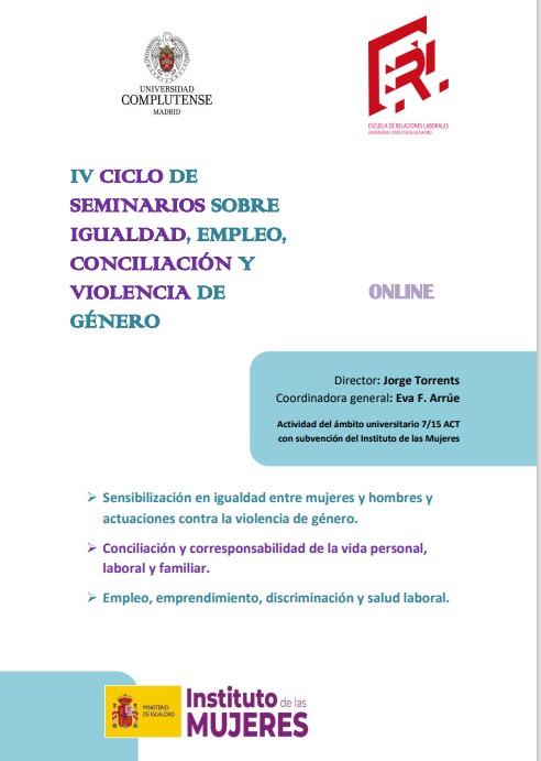 IV Ciclo de seminarios sobre igualdad, empleo, conciliación y violencia de género